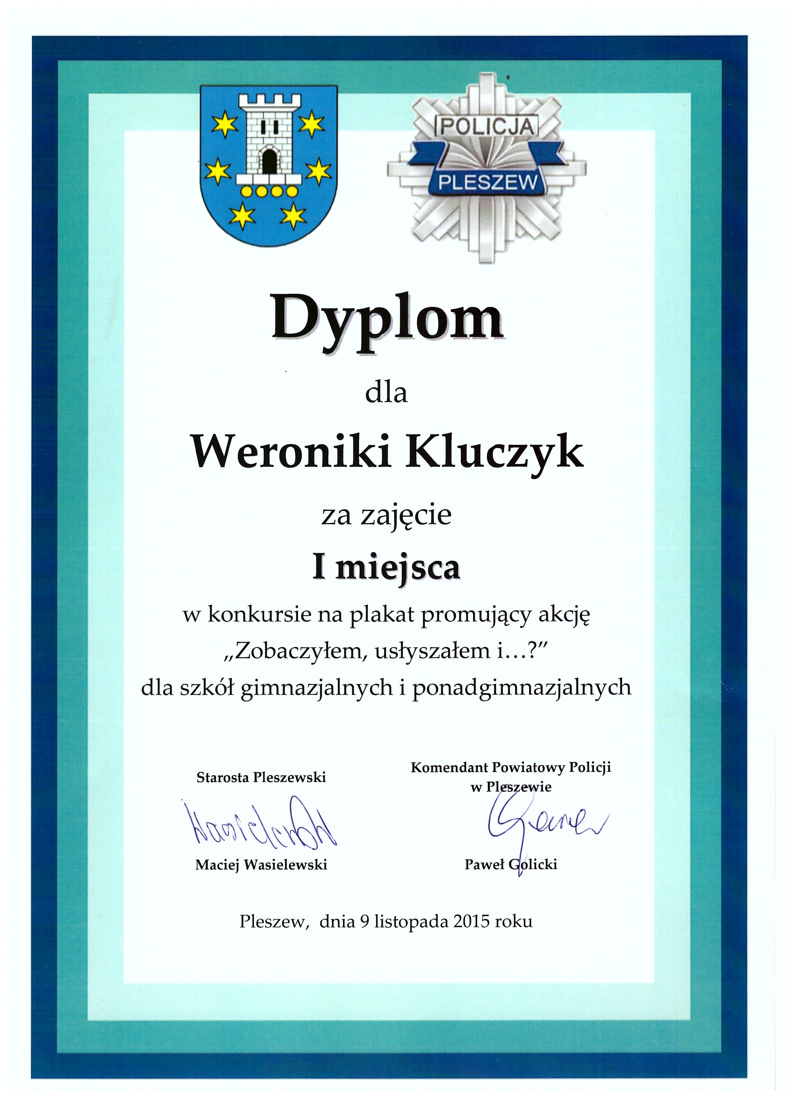 Dyplom dla Weroniki Kluczyk