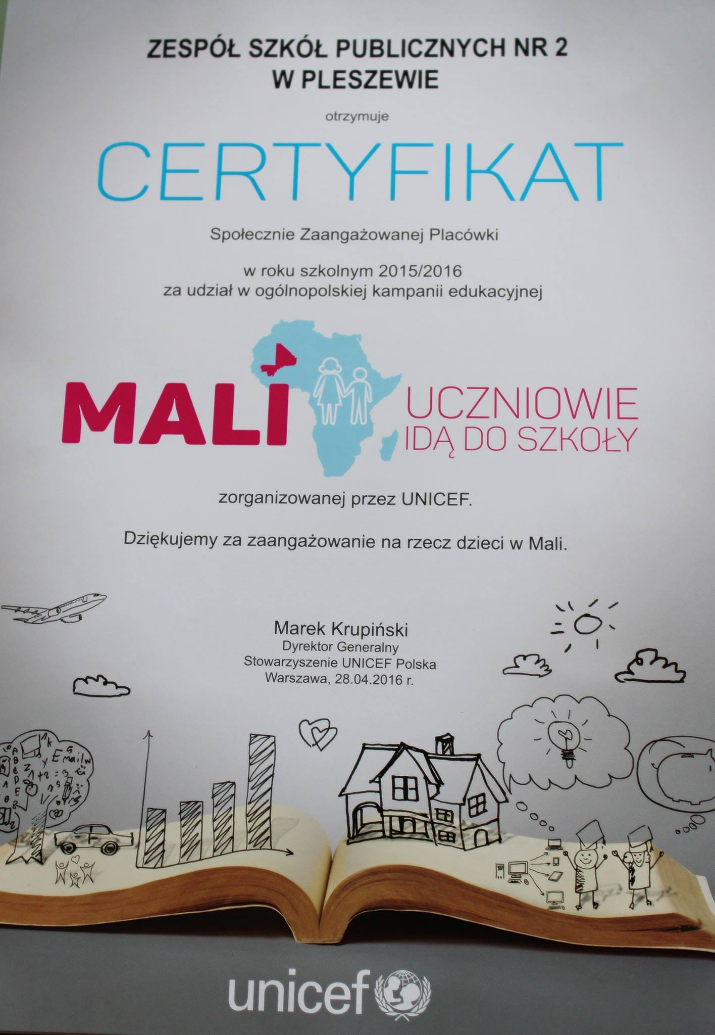 Zdobyliśmy Certyfikat Społecznie Zaangażowanej Placówki!
