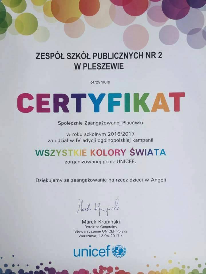 """Certyfikat """"Wszystkie Kolory Świata"""""""