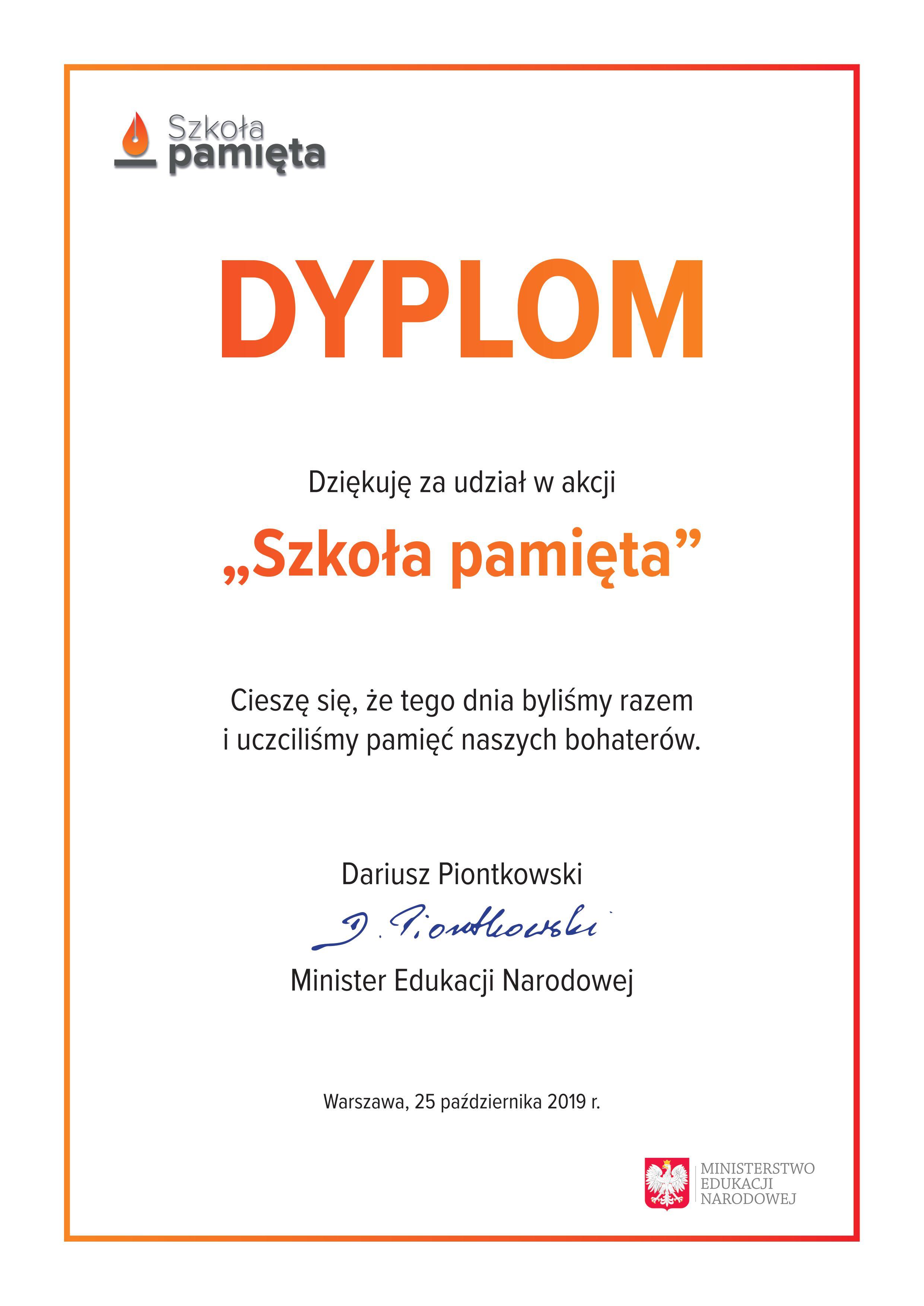"""Mamy dyplom za udział w akcji """"Szkoła pamięta""""!"""
