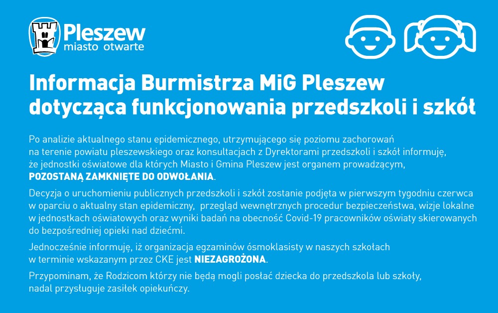 Informacja Burmistrza MiG Pleszew dotycząca funkcjonowania przedszkoli i szkół