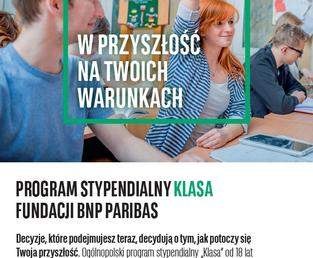 """""""Klasa"""" – program stypendialny Fundacji BNP Paribas dla ósmoklasistów. Rekrutacja trwa do 30 czerwca 2020r."""