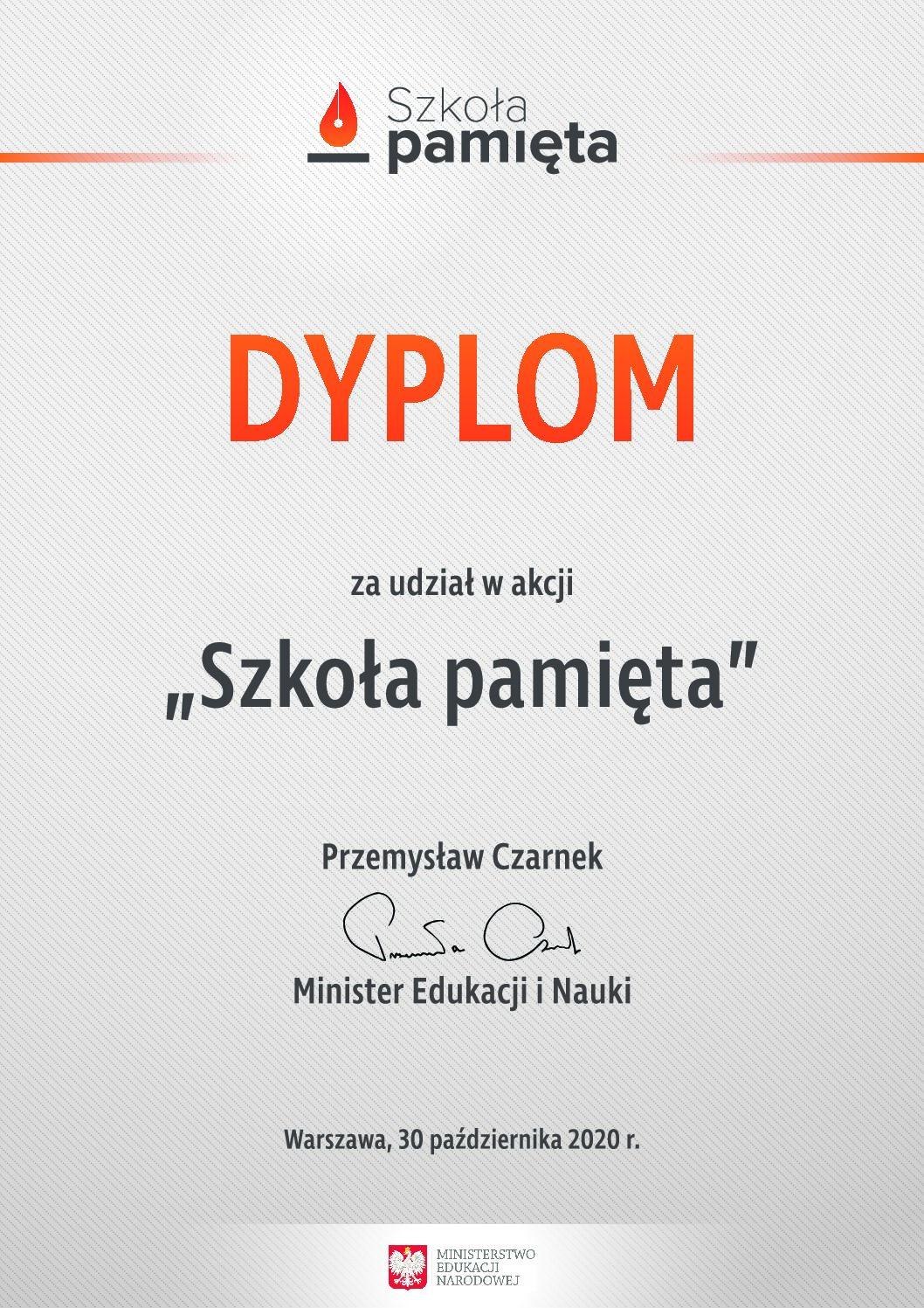 Podziękowanie od Ministra Edukacji i Nauki