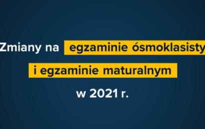 Zmiany na Egzaminie Ósmoklasisty w roku szkolnym 2020/2021