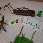 Obrazek przedstawia bohatera Zippiego wykonanego przez dzieci.