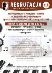 Plakat Państwowej Szkoły Muzycznej w Pleszewie dotyczący rekrutacji