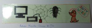 """Zakładka do książek z narysowanym komputerem, siecią pająka i psem mówiącym """"Antywirus"""""""