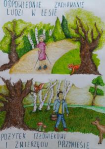 Plakat przedstawiający w górnej części kobietę uprawiającą nordic walking w lesie, a w dolnej mężczyznę zbierającego grzyby.