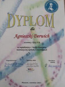 Dyplom dla Agnieszki