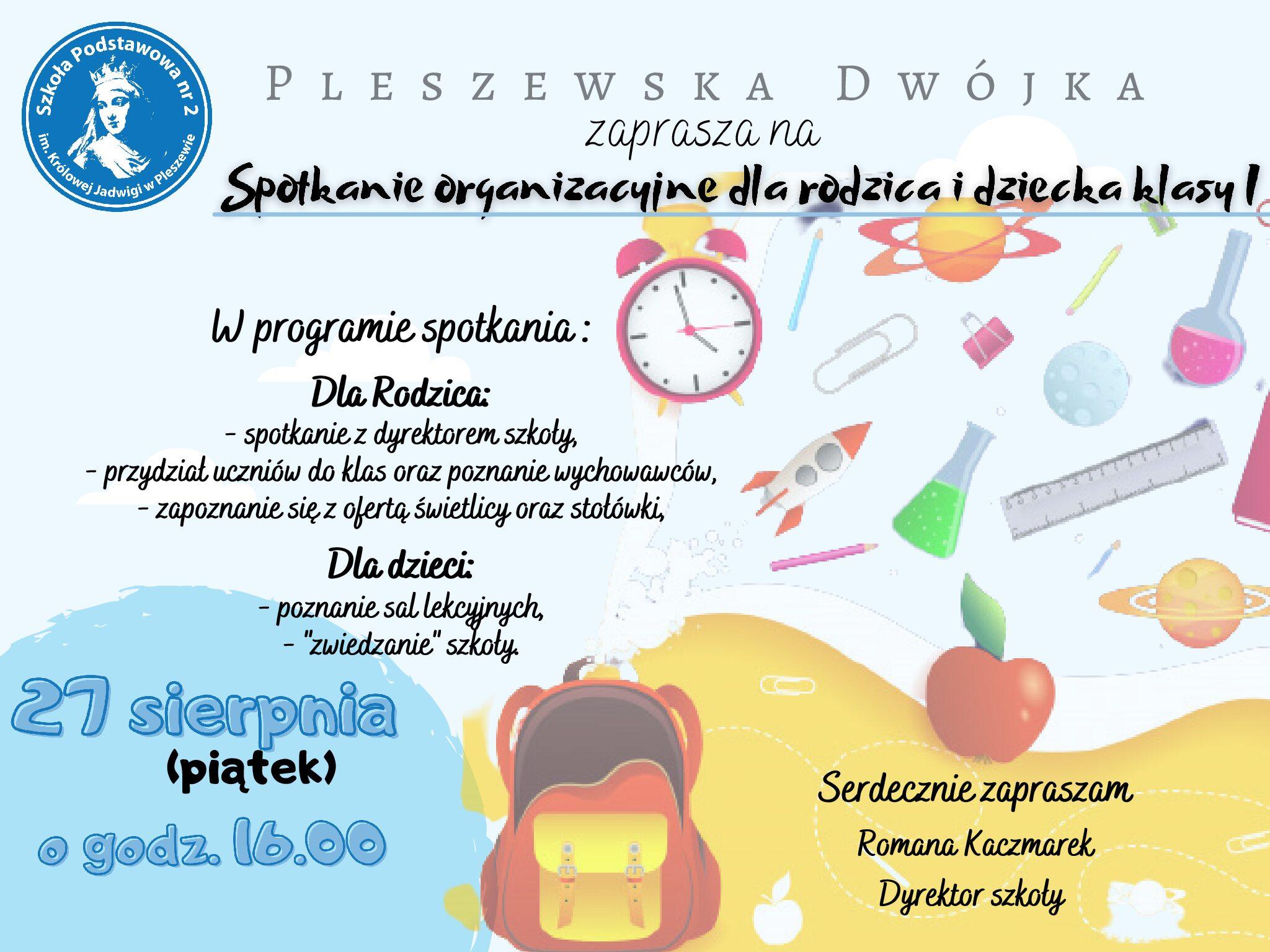 Spotkanie organizacyjne dla rodzica i dziecka z klasy pierwszej